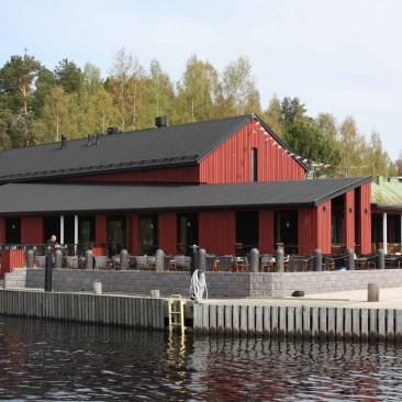 Kahvila-Ravintola Satamakapteeni, Korpilahden satama. Wanha Punainen 4 Öljyn Laatumaali.