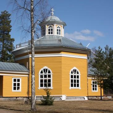 Orisbergin Kartanon kirkko, Kartanonkeltainen ja Okrankeltainen 4 Öljyn Laatumaali, sekoitettu 1:1.