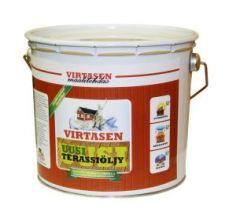 Terassiöljy. Terassin öljyäminen Virtasen Uusi UV-suojattu Terassiöljy antaa pidenpiaikaisen kauniin suojan terassilaudoille vettä vastaan kuin terassin käsittely tavanomaisilla terassiöljyillä.